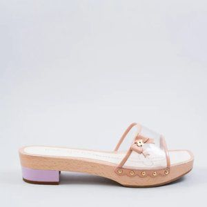 Louis Vuitton Wood & PVC Slide Sandals Size 36